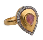 Image of  Kara Ackerman <i> Alice Rose <i/> Pink Tourmaline and Diamond Pear shaped Ring
