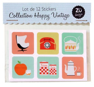 "Image of Lot de 12 stickers ""Collection Happy Vintage"""