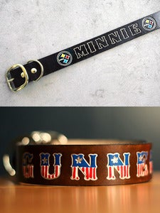 Image of Custom Name Leather Large Dog Collar 16 to 28 Inches Long