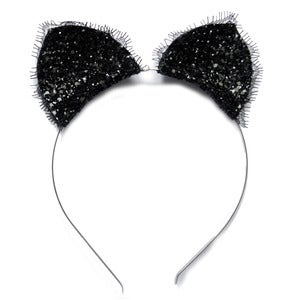 Image of Purrfect - Glitter Cat Ears with Eyelash Lace