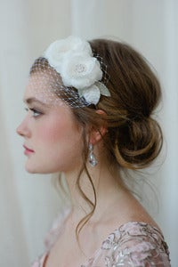 Image of Bridal Hairband with Mini Veil in Light Ivory by Fine &amp; Fleurie