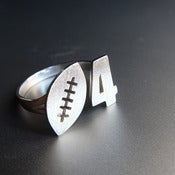 Image of Football & Custom Number Ring - Handmade silver ring