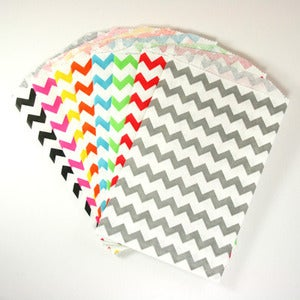 Image of Colourful Chevron Medium Paper Bags