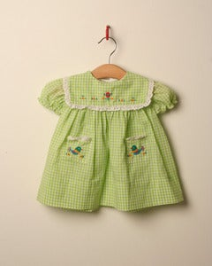 Image of c. 1970s green gingham dress