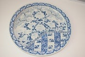 Image of Vintage Blue and White Metal Ming Tray