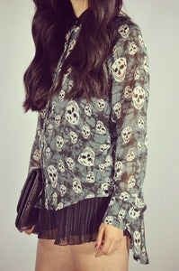 Image of Skull Button Up - Deep Teal (WAS $38)