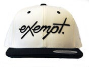 Image of Cursive Logo Snap Back Hat - White