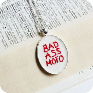Image of Bad Ass Mofo Necklace hand embroidered red white silver plated