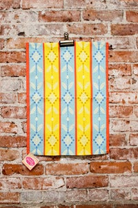 Image of Folk Print Tea Towel - Yellow