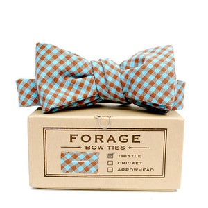 Image of teal & brown gingham {bow tie}