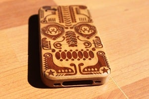 Image of Dia de los muertos wooden bamboo case for iPhone 4