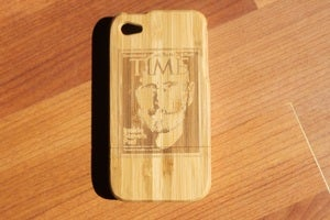 Image of Steve Jobs Time magazine wooden bamboo case for iPhone 4