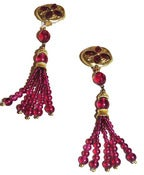Image of Vintage Magenta Bead Tassel Earrings