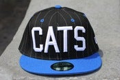 Image of BLACK PINSTRIPE CATS NEW ERA FITTED HAT