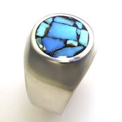Image of Unique, Custom, Heavy Weight Sterling Silver Ring with Round Turquoise Mosaic Inlay