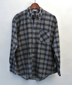 Image of Vintage blue/green/black plaid flannel shirt (M)