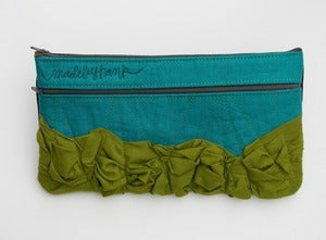 Image of - S O L D - a tough ruffles zip clutch a-go-go in jade + avocado