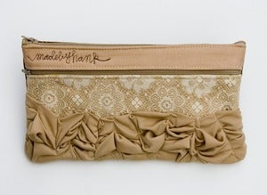 Image of - S O L D - a tough ruffles zip clutch a-go-go in vintage lace + beige (c)
