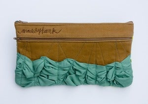 Image of - S O L D - a tough ruffles zip clutch a-go-go in caramel + sea glass (c)