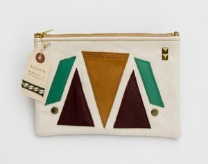 Image of - S O L D- large zipper pouch with geometric leather appliques and a metal zipper (b)