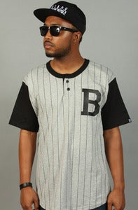 Image of Henley Baseball B Tee Black