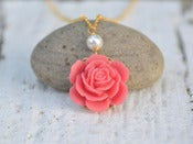 Image of Coral Rose White Pearl Bridal Necklace in Gold - NC008