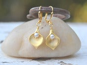 Image of Gold Calla Lily and White Swarovski Pearl Dangle Bridal Earrings - EFA017