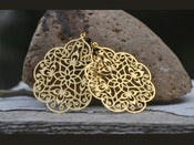 Image of Large Gold Filigree Teardrop and Black Swarovski Crystal Dangle Earrings - EFA002