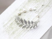 Image of Antique Silver Leaf Bracelet with White Swarovski Pearls - BFA001