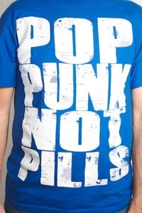 "Image of ""POP PUNK NOT PILLS"" T-shirt (White on Blue)"