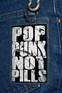 "Image of ""POP PUNK NOT PILLS"" key ring laminate"
