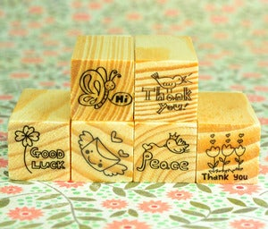 Image of Little Message Rubber Stamps