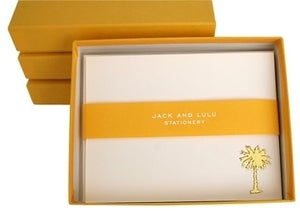 Image of JACK &amp; LULU PALM TREE GOLD FLAT NOTECARDS