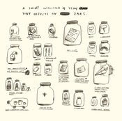 Image of A COLLECTION OF TINY OBJECTS IN LITTLE JARS print