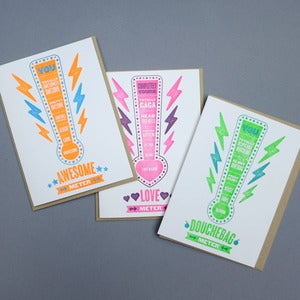 Image of fun meter letterpress card set