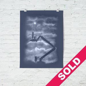Image of Reach - (screenprint) blue - hand finished