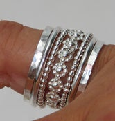Image of Set of Stacking Rings Sterling Silver Bold Band of Daisy Flowers Between Dotted &amp; Hammered Bands