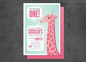 Image of Giraffe First Birthday Invitation (10)