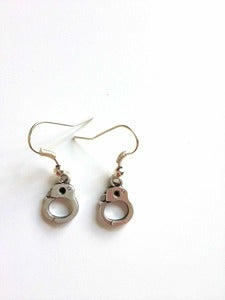 Image of Silver Tone Small Handcuff Earrings