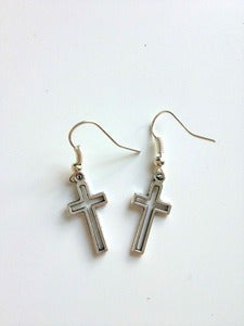 Image of Silver Tone Open Cross Earrings