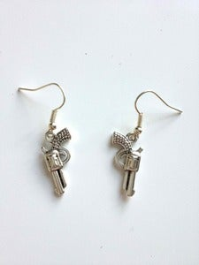 Image of Silver Tone Gun Earrings