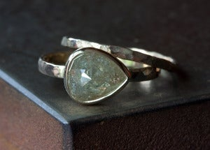 Image of Green Champagne Rose Cut Diamond Ring in 14kt Yellow Gold