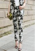 Image of Classic Floral Print High Waist Trousers