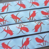 Image of Renaissance Ribbons : Red Bird on Blue