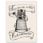 "Image of Doctor Who ""They Hatin'"" - woodblock print"