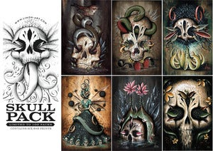Image of Skull Pack, Six 6x9 Print Set