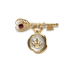 Image of Feather Key Brooch with Crown Wax Seal