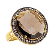 "Image of "" New "" Kara Ackerman <i> Alice Rose <i/> Cocktail Ring in Smokey Topaz"
