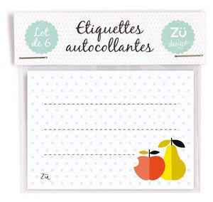 "Image of Lot de 6 étiquettes autocollantes ""Fruits"""