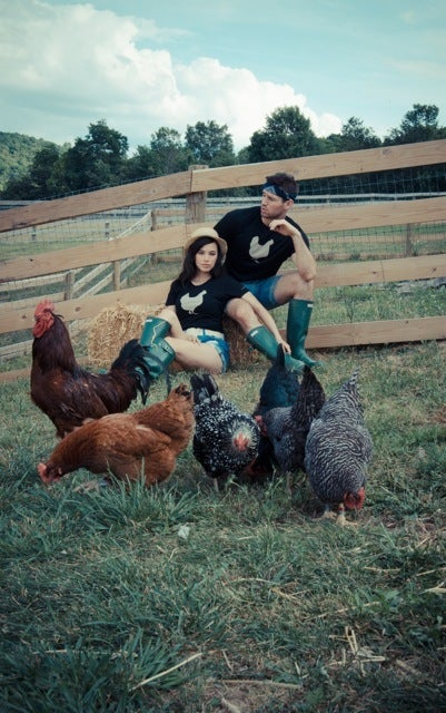 "Image of *LIMITED EDITION* GIRLS JOHN BARTLETT + FARM SANCTUARY ""AMBASSADOR COLLECTION"" CHICKEN TEE"